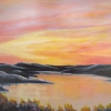 M.L. Marg Smith - Vermilion Sunset 16x20 acrylic and oil, framed