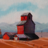 Memories of Azure- 9x12 original oil by ML Marg Smith. As you drive the country roads of ALbertathis landmark elevator just southwest of High River, Alberta, stands so majestically, reminding us of farming in the past and present.  It appears to be privately owned now